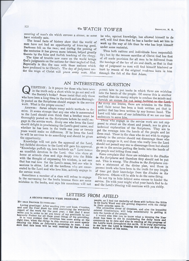 Watchtower magazine, published in 1928 April 15, p.123