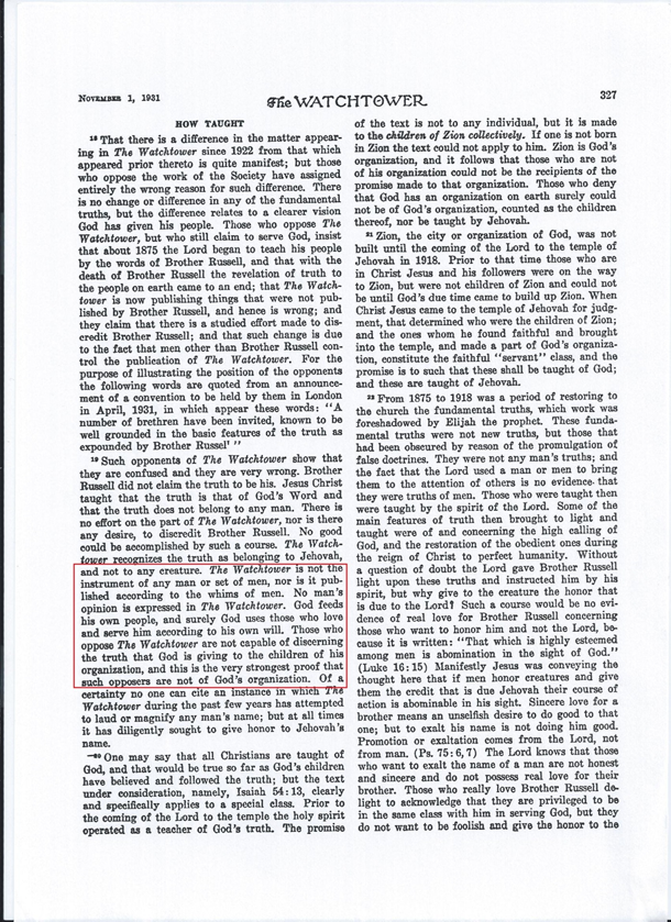 Watchtower magazine, published in 1931 Nov 1, p.327