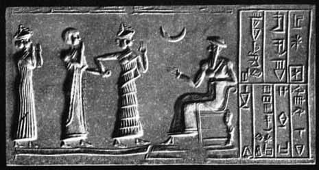 Impression of the cylinder seal at Ur. c. 2100 BC.
